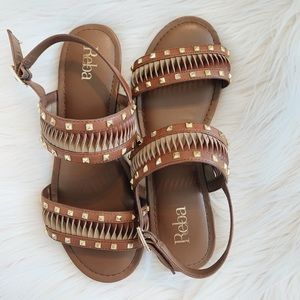 Studded brown sandals
